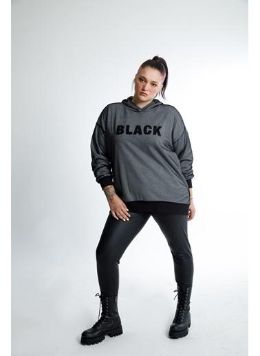 Luokk Amstel1 Kapüşonlu Baskı Detaylı Oversize Kadın Sweatshirt  Grimelanj Gri